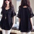 Summer Women Tops Lace Crochet Shirts Elegant Black Lace Blouse Shirt Women Clothing Plus Size 5XL Roupas Feminina Blusa Renda