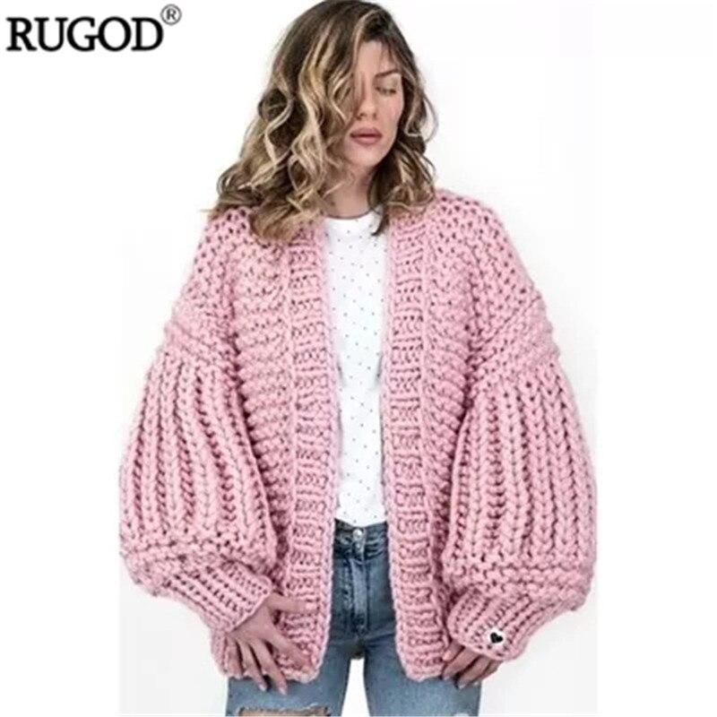 RUGOD 2018 nouveau Cardigan fait à la main grande lanterne manches Crochet chandail décontracté qualité point ouvert tricoté manteau Befree