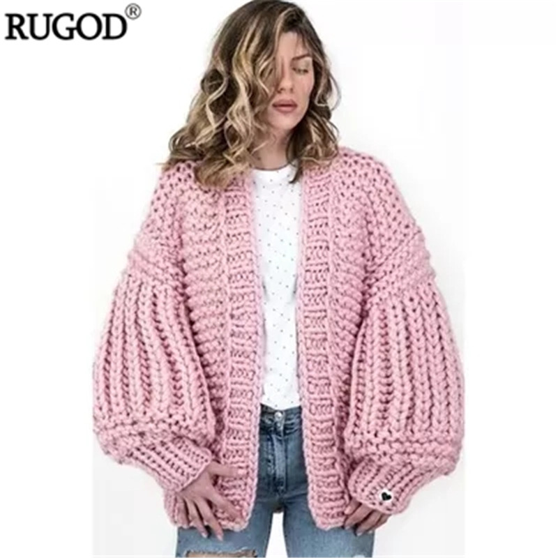 Linterna Hecho Nuevo Casual pink Rugod Cardigan white Crochet Mano Suéter Befree Calidad Gran Abierto gray Mujeres Black Manga A Alta 2018 Punto red green 70q05Ew