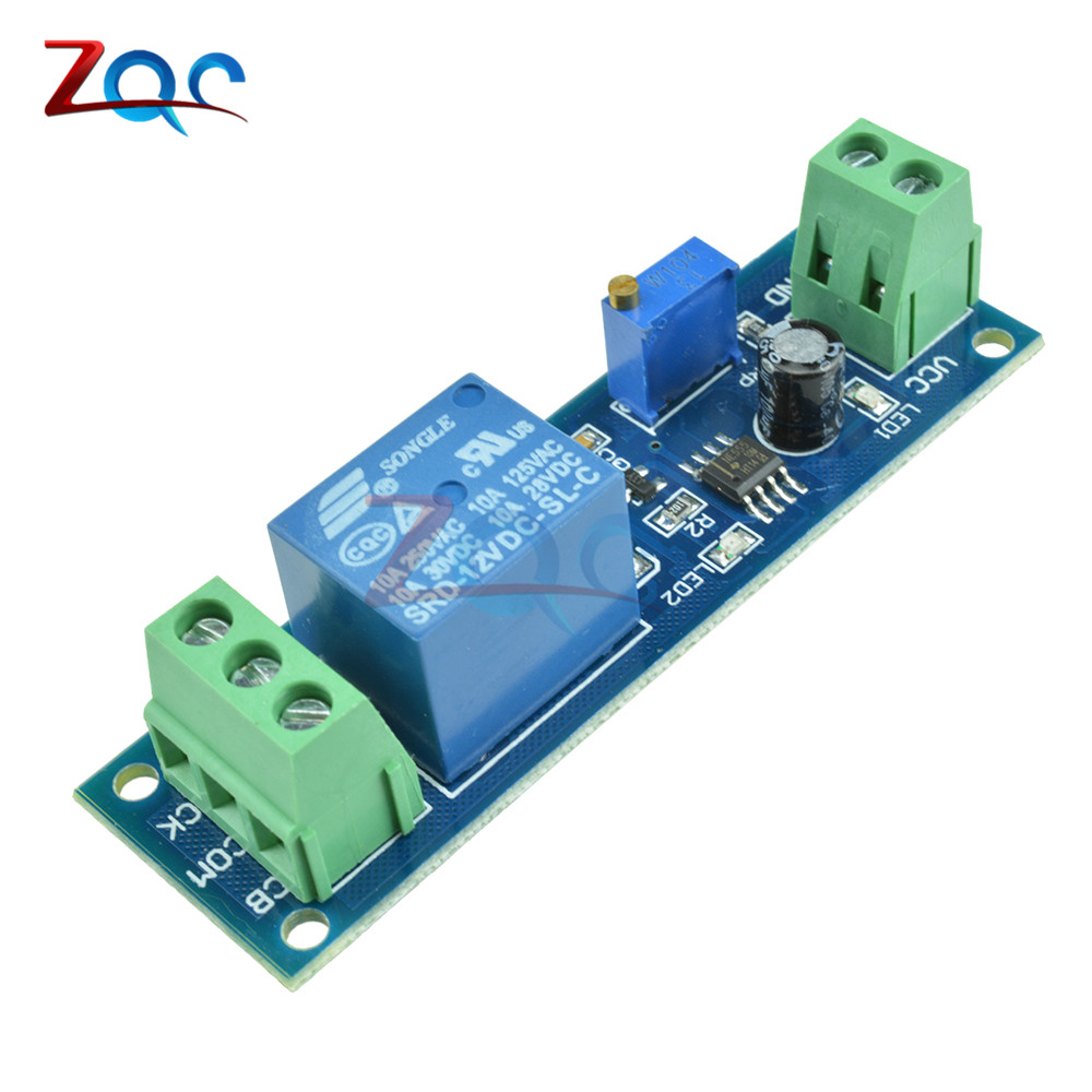 12V Delay Relay Timer Switch Adjustable 0 to 10 Second with NE555 Oscillator new 1pc red dc12v pull delay timer switch adjustable relay module 0 to10 second t1098 p