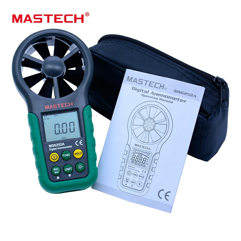 MASTECH MS6252A Digital Anemometer Wind Speed Meter with Data hold and LCD backlight display