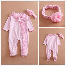Комбинезон с длинными рукавами для новорожденных девочек 0-7 месяцев; комбинезон; комплект одежды; повязка на голову