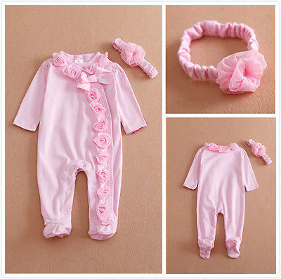 0~7M Long Sleeve Newborn Baby Girls Romper Jumpsuit Clothes Outfits Set Headband Attached