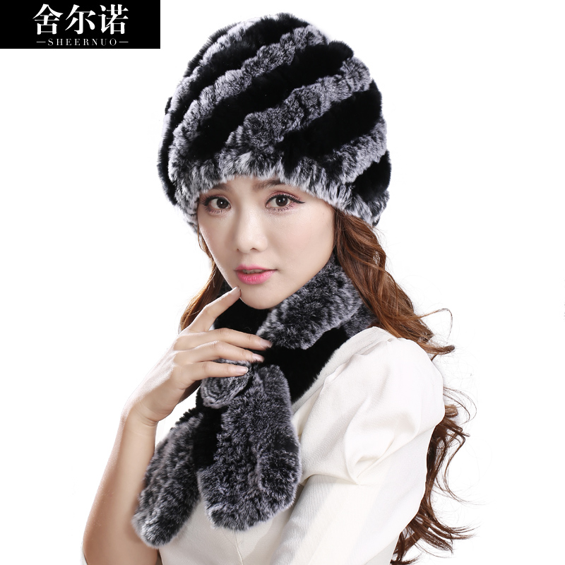 Sheernuo  New Rex Rabbit Fur Fur Hat Scarf Women's Winter Hat Han Han Version Of The Tide With Warm Thickening Two Sets