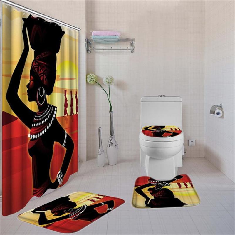 4 Pcs Set African American Girl Shower Curtain Bath Rug Set Toilet Cover Bath Mat Set