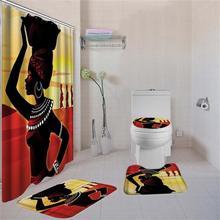 4 шт./компл. афро-американские женские занавески для душа набор ковриков для ванны туалетная крышка набор ковриков для ванной Аксессуары для ванной комнаты шторы с крючками