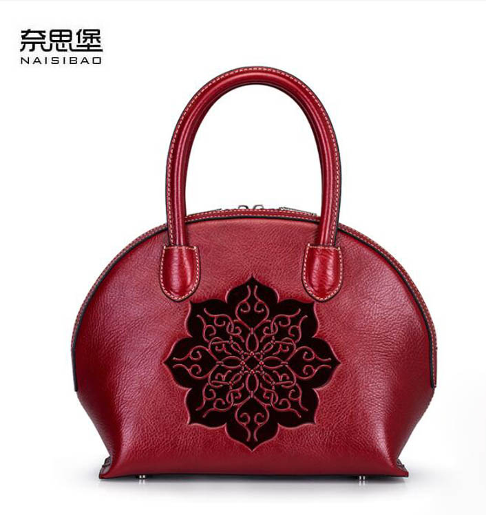 NAISIBAO2018 new luxury fashion hundred percent high-quality handbags retro embossed first layer leather knitted mother package цена