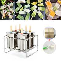 6 Molds Stainless Steel Reusable Ice Cream Making Mould Popsicle Mold DIY Ice Cream Maker Molding Machine+50Pcs Wood Stick