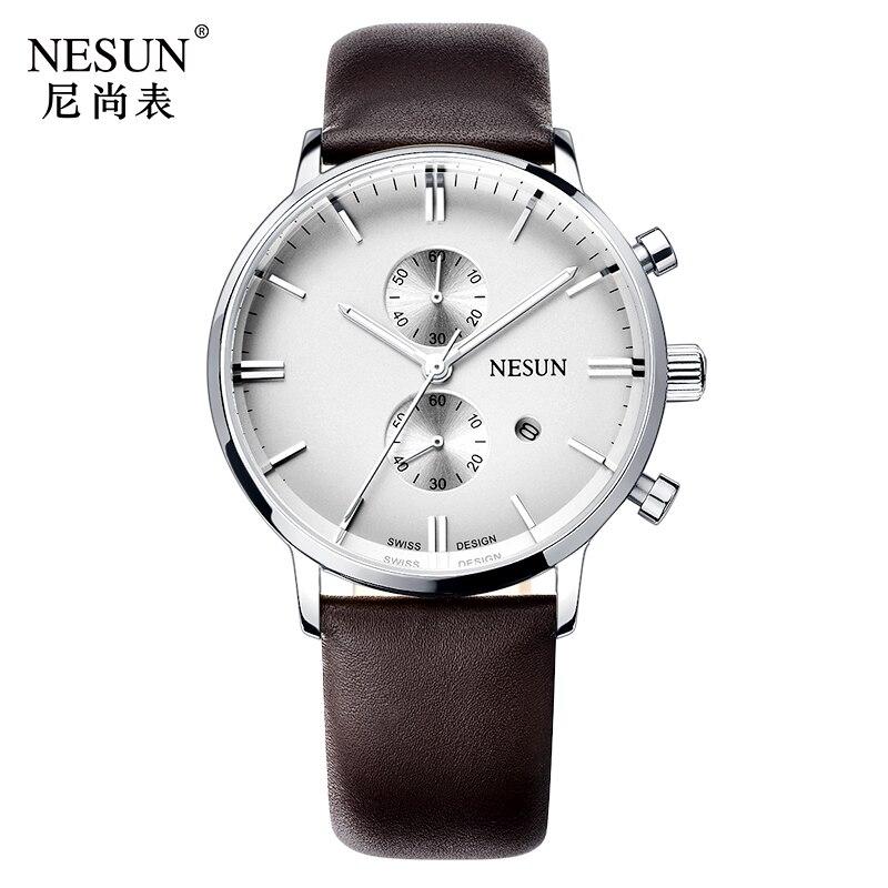 все цены на Nesun Men's Watches Top Brand Luxury Citizen Quartz movement Watch Men Chronograph Wrist clock Waterproof reloj hombre N8601-1 онлайн