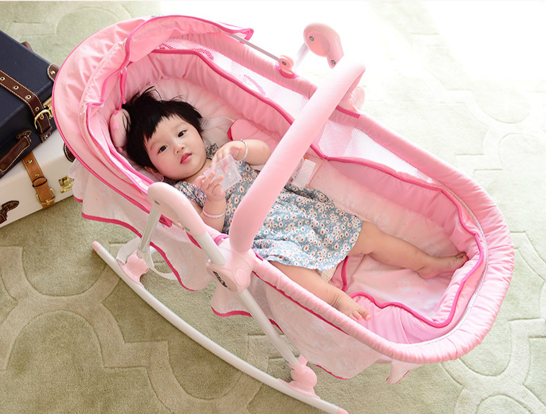 Multifunctional Baby Cradle Soft Newborn Baby Bed Can Sit Can Lie Baby Rocking Chair Portable Folding Baby Crib C01 luxury portable cradle newborn baby cradle multifunctional baby bed play bed with music toy can folding 2in1 crib cotton cot