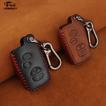 Dandkey Leather Key Case 4 Buttons For Toyota Avalon Camry Corolla Highlander Venza Prius 2010 2011 2012 2013 Car Key soft tpu car key case cover keychain for toyota avalon 8 camry 2019 levin ioza chr