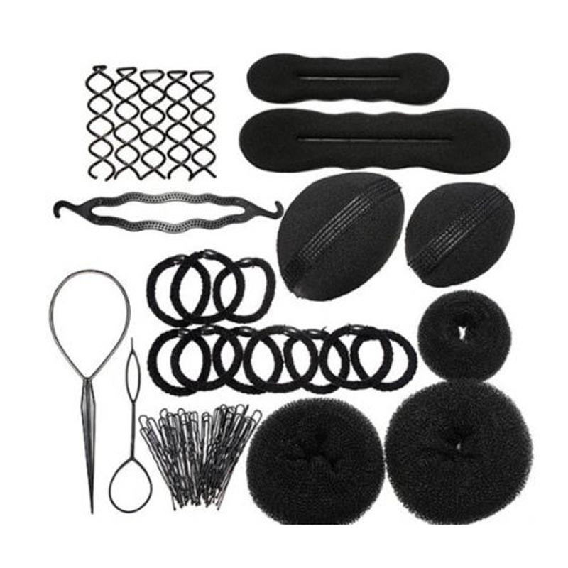 Hair Styling Accessories Kit Set for DIY Magic Clip Maker Tools Pads Foam Sponge Bun Donut Hairpin 2017 New Black hair styling halloween party zombie skull skeleton hand bone claw hairpin punk hair clip for women girl hair accessories headwear 1 pcs