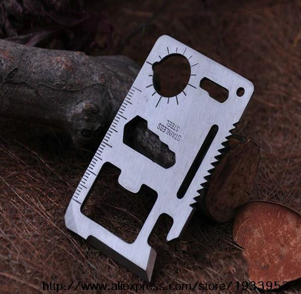 1 pcs 11 in 1 Multi-function Saber Card Tool Outdoor Camping Card Universal Life Saving Card Tool Card