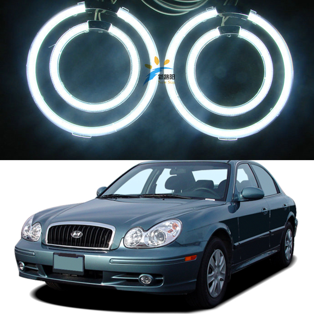 Special Ccfl Angel Eyes kit for Hyundai Sonata 2002 2003 2004 2005 White 6000k Ccfl Halo Rings Headlight with 2 CCFL inverters for uaz patriot ccfl angel eyes rings kit non projector halo rings car eyes free shipping