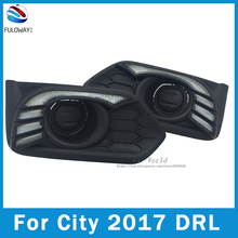 LED DRL Daytime Running Lights Fog Cover For Honda City Grace 2017 Day Light DRL Accessories Signal Turning 12V Car-styling