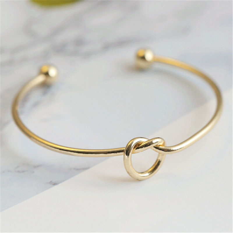 Fashion Simple Love Knot Bangle Open Cuff Elegant Stretch Bangle Jewelry Gifts For Women CX17
