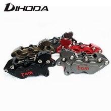 Freno trasero modificado para motocicleta, pinza de cuatro pistones HF6 BWS RSZ CNC, color gris, rojo, marrón y negro, 9mm