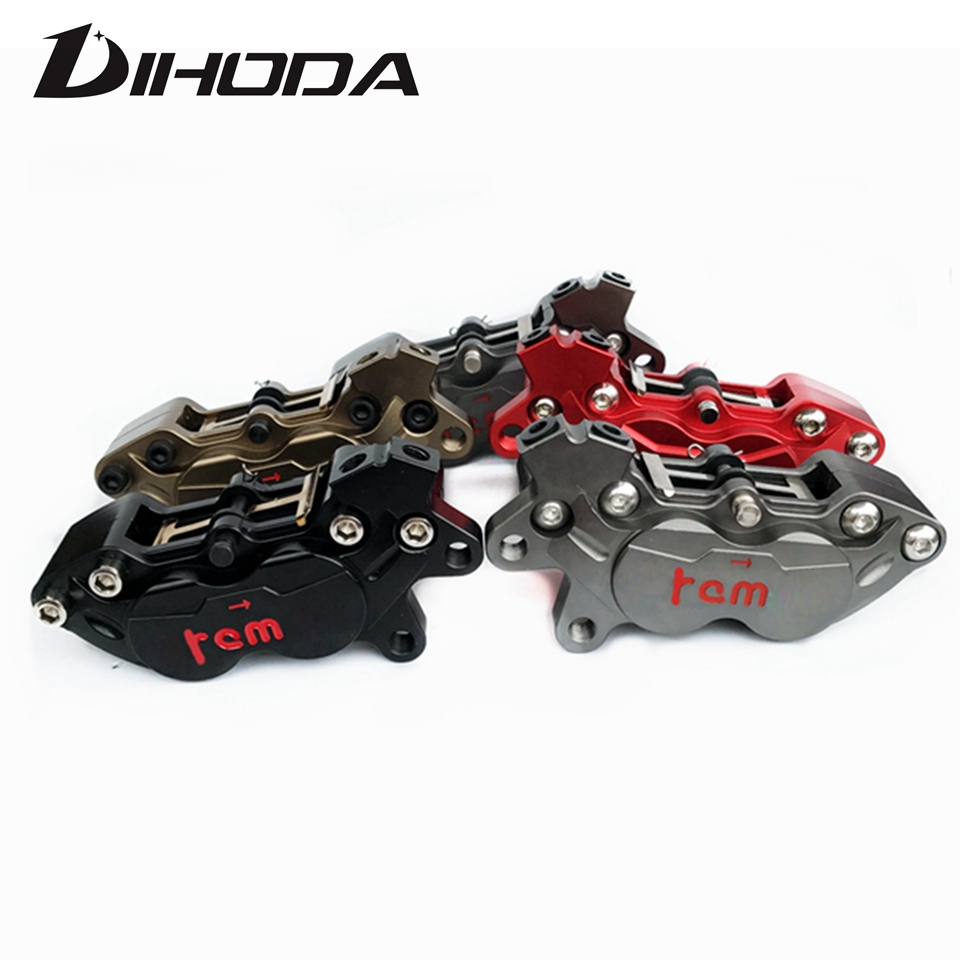 Motorcycle modification Grey Red Brown Black four piston caliper HF6 BWS RSZ CNC rear brake 9mm hole motorcycle parts motorcycle parts black brake