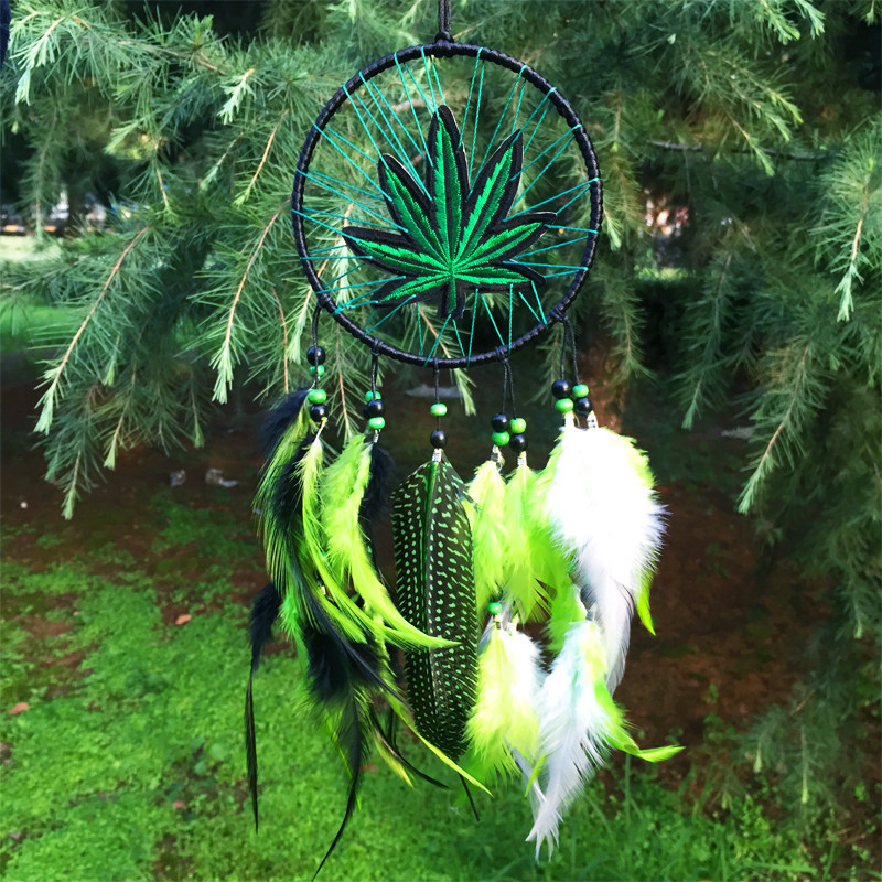 12*35cm Wind Chimes Indian Style native American dream catcher tapestry europe white leather dream catcher for room car decorate
