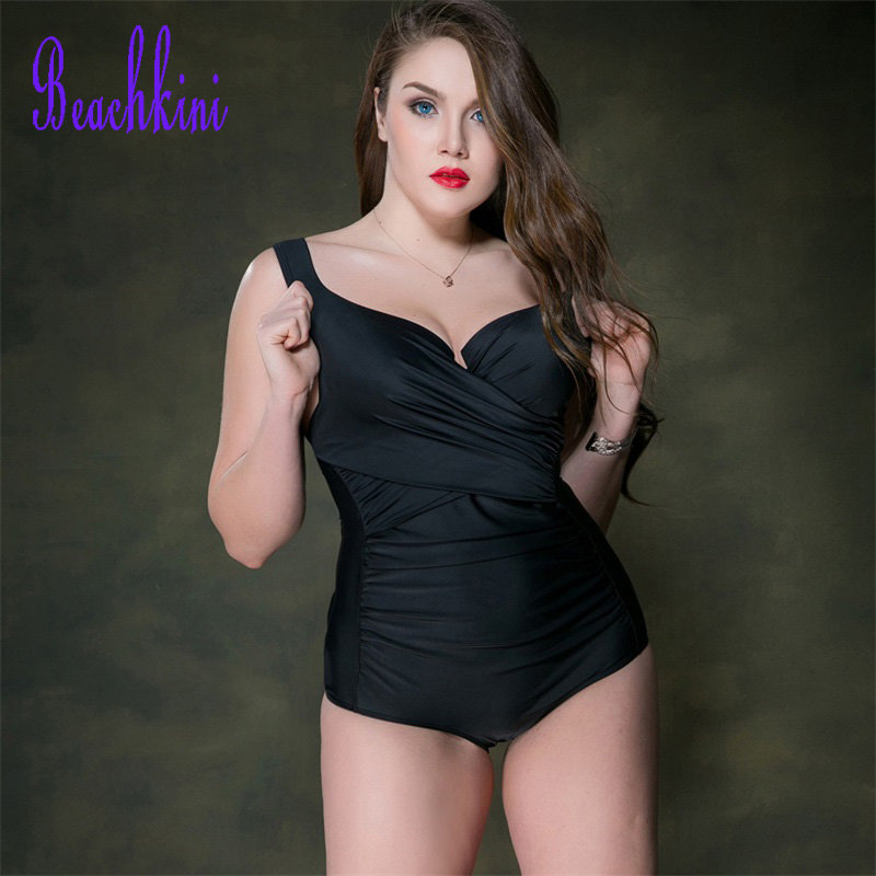 Solid Plus Size Swimwear 2017 One Piece Push Up Swimsuit Halterneck Bodysuit Retro Thong Bathing Suit Sexy Pleated Monokini xxxl one piece swimsuit push up plus size swimwear famale 2017 black backless bodysuit summer beachwear bathing suits monokini