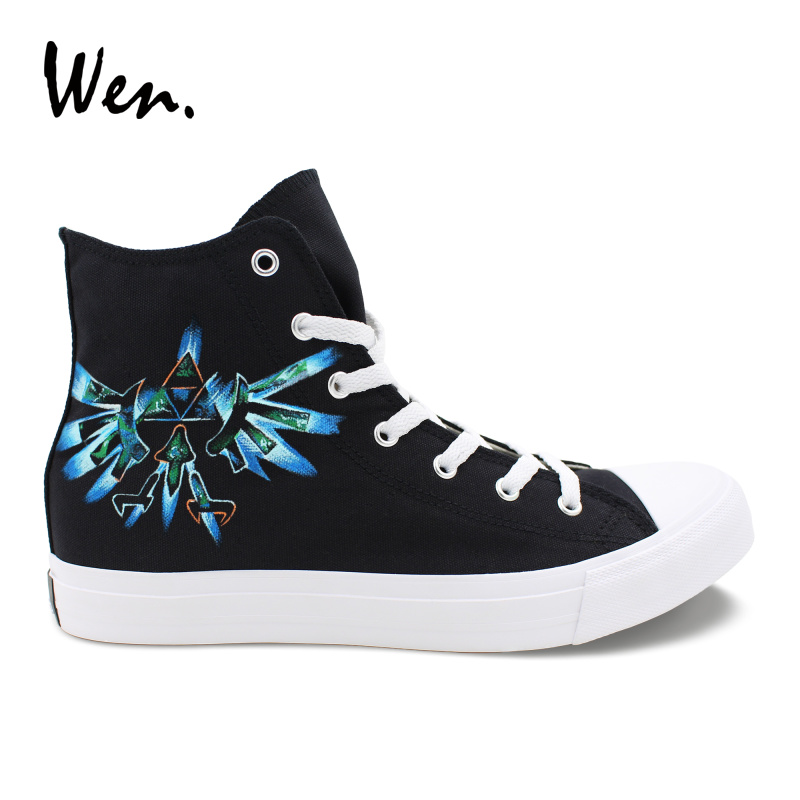 Wen Canvas Hand Painted Black Shoes Legend Of Zelda Blue Mark High Top Design Custom Casual Flats Male Female Comfy Sneakers