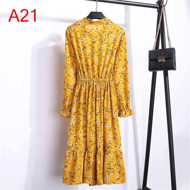Korean Black Shirt Vestidos Office Polka Dot Vintage Autumn Dresses Women Winter Dress 19 Midi Floral Long Sleeve Dress Female 68