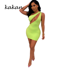 Kakan summer new womens dress solid color hollow sleeveless shoulder sexy nightclub