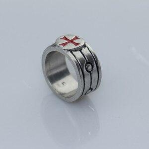 Мужское эмалированное кольцо с крестом из нержавеющей стали