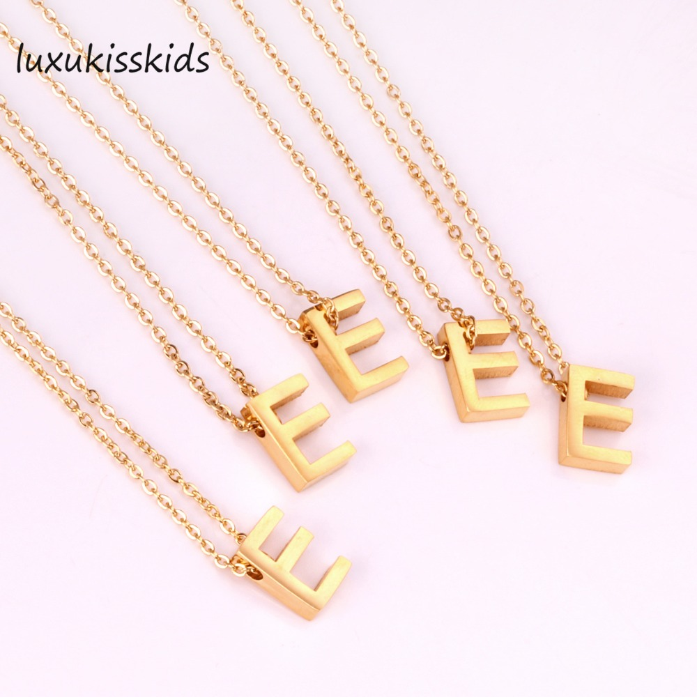 US $12 5 50% OFF|LUXUKISSKIDS Alphabet Initial necklace gold letter  necklace initials name necklaces pendant for women girls  best birthday  gift-in