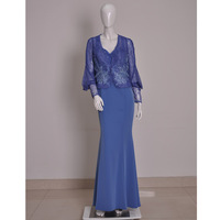 Lace Embroidered Short Lace Top Acetate Satin Wide Sling Mop Skirt Two piece Evening Dress
