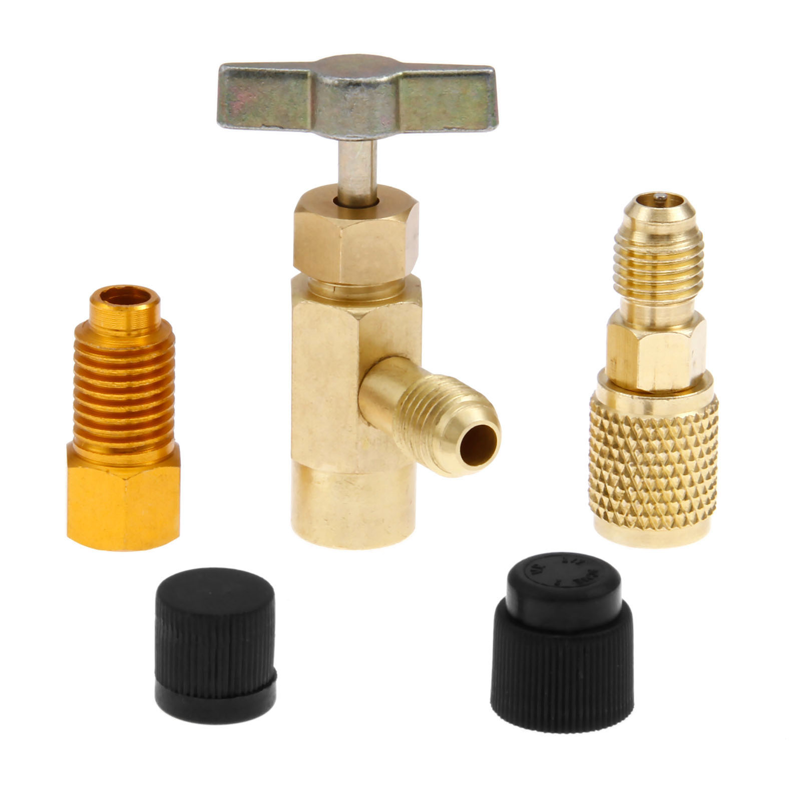 R1234yf Refrigerant Can Tap Kit W/ Adapter For R12 R22 R134A Charging Hose 1/2 ACME Female 1/4 SAE Male AC Bottle Opener