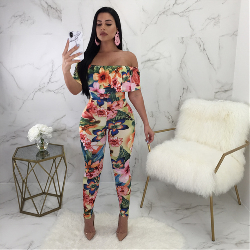584c1506fd KGFIGU 2018 Summer New Style Print Striped Stretch Fabric Jumpsuits Women  Sexy V Neck Backless Lace Up Rompers Ruffles Overalls