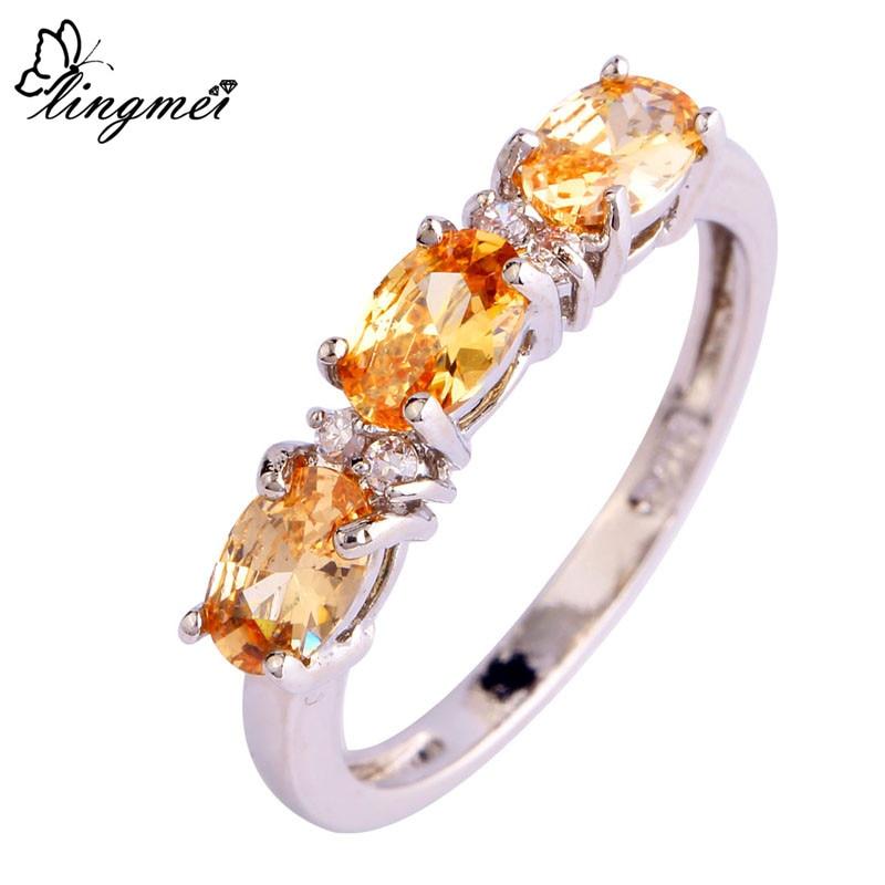 purchase cheap 5c592 51623 Lingmei venta al por mayor buena joyería morganita y blanco CZ plata color  anillo tamaño 6 7 8 9 10 11 12 mujeres amor promesa envío gratis