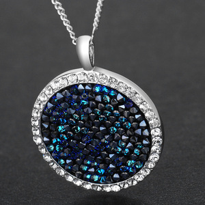 Image 4 - Cdyle Embellished with crystals Pendants Necklaces Round Jewelry Elegant Fashion Blue Bijous Sexy Female