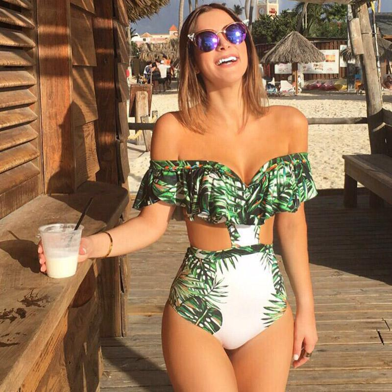 Ruffle Bikini Set Women Flower Bikini Off Shoulder Swimwear High Waist Brazilian Biquini Female Swimsuit Flounce Beach Wear 2018 off shoulder flounce long sleeve gitter top black silver