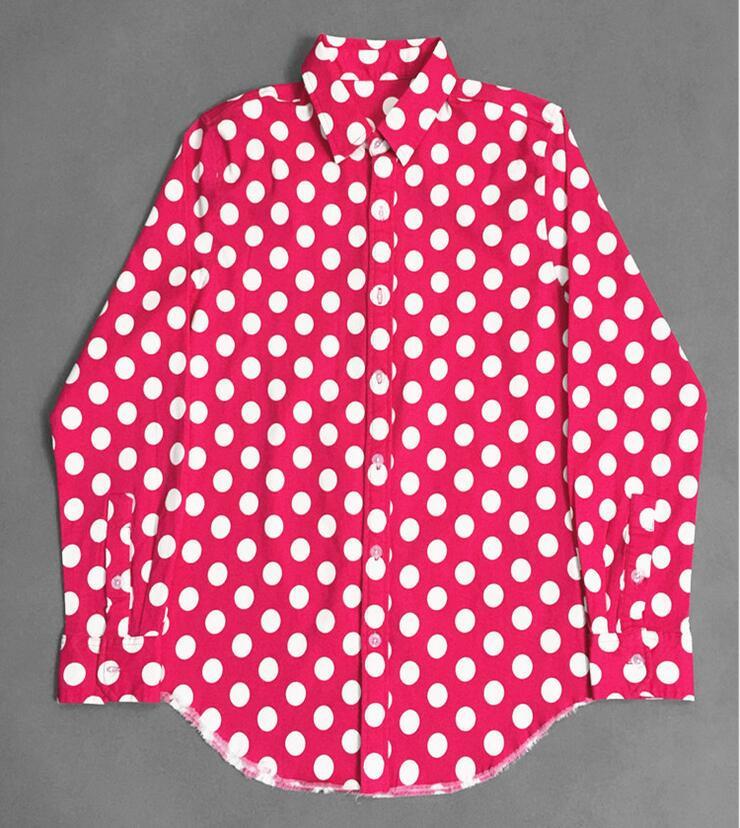 High New 2017 Men Polka Dot shirts Fashion Cotton Casual Shirts Shirt high quality Pocket long-sleeves Top S 2XL #C93