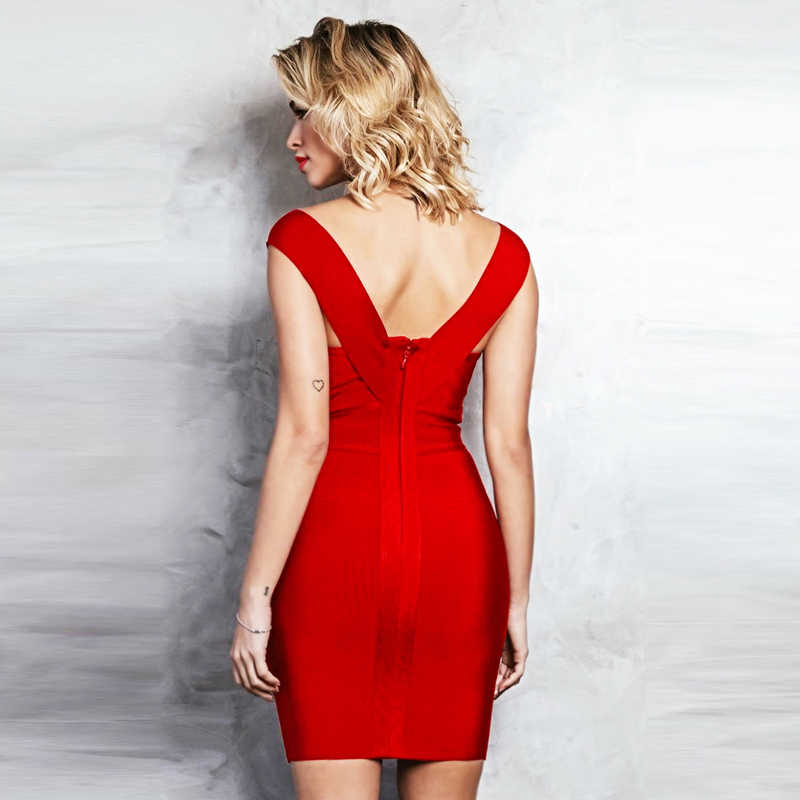 INDRSESME Women Bandage Dress 2019 New Fashion V Neck Sleeveless Sexy Solid bodycon Club Party Dress For Lady Christmas