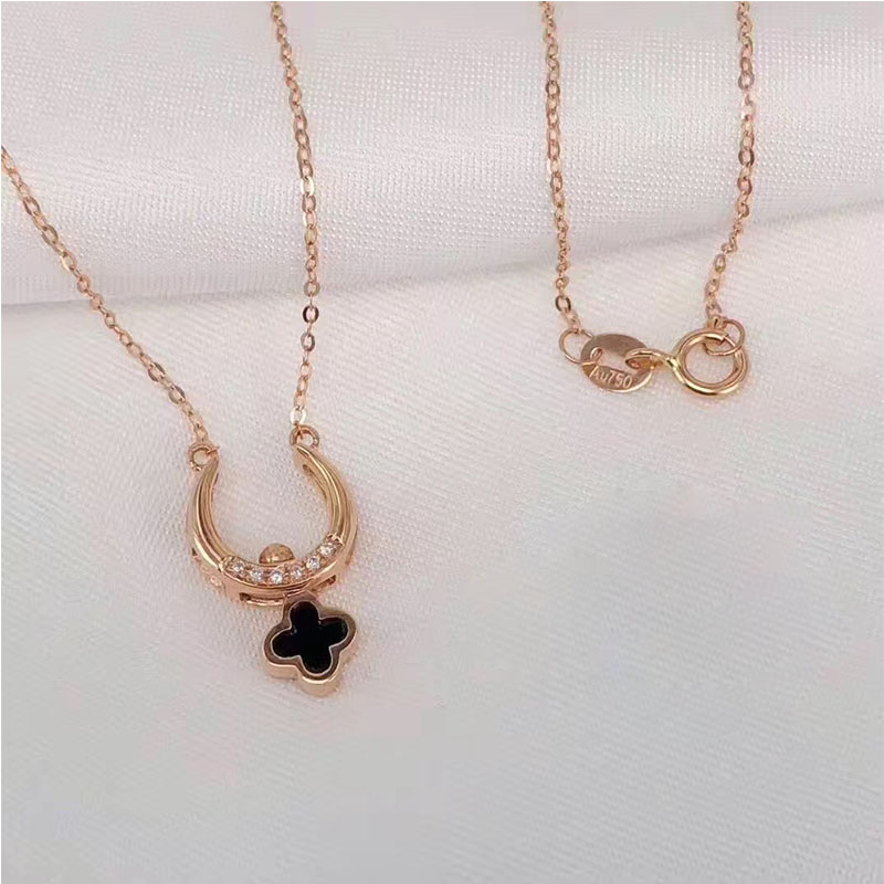 ANI 18K Rose Gold (AU750) Wedding Pendant Necklace Clover Shape Agate Real Diamond for Women Fashion Engagement Chain Necklace genuine 18k 750 rose gold 1ct hearts arrows test positive lab grown moissanite diamond engagement pendant necklace chain women