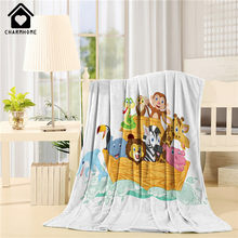 Blanket Cute Cartoon Animals with Lion Elephant Giraffe Snake Monkey Zebra Dolphin on Ocean Pattern Sofa Bed Kid Adult Blanket(China)