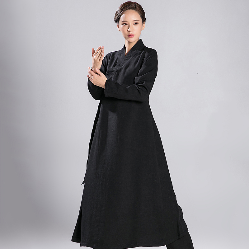 2018 New Pattern Tai Chi Robe Men And Women Long  Oblique Loose Coat  Flax  Overcoat Robe Black And White Only Top