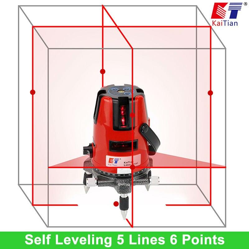 635nm Laser KaiTian Nível Do Laser 5 Linhas Profissional Função Barra Vertical Horizontal Self leveling Cruz Nível Lazer Ferramentas