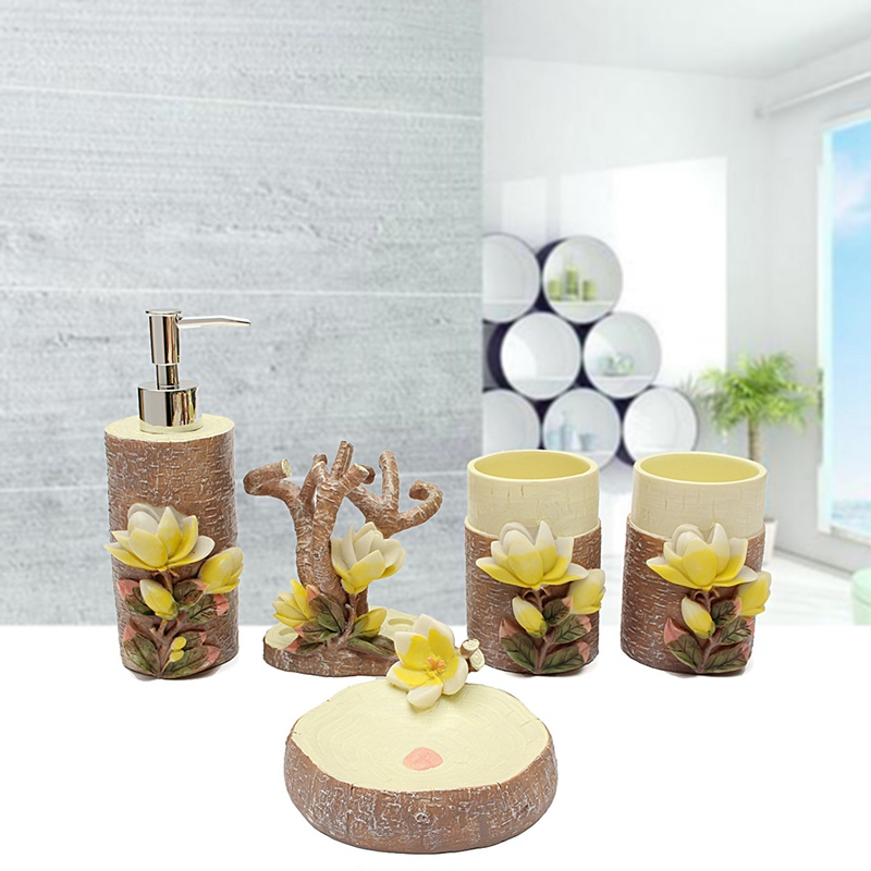 High End 5Pcs 3D Magnolia Scalpture Bathroom Accessories Set Soap Holder Toothbrush Cup Liquid Soap Dispenser Sets Craft Gift