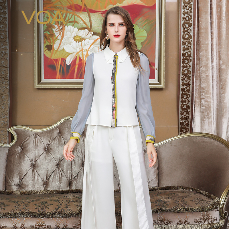 Voa White Shirts f Top Silk Office Bluse Slim EIWD29HY
