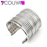 Newest Design Fashion Very Big Wide 316L Stainless Steel Punky Cuff Bangle Bracelet For Women Jewelry