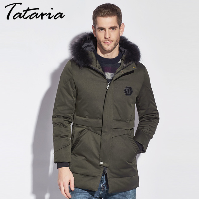 Tataria Mens Down Jackets With Hood Down Coat For Men Fur Parka ...