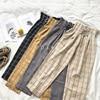CamKemsey Japanese Harajuku Casual Pants Women 2019 Fashion Lace Up High Waist Ankle Length Loose Plaid Harem Pants 8