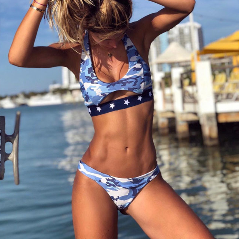 In-X Camouflage sexy bikini 2019 Push up swimsuit female brazilian bikini set Sports swimwear women bathing suit Beach wear new 1