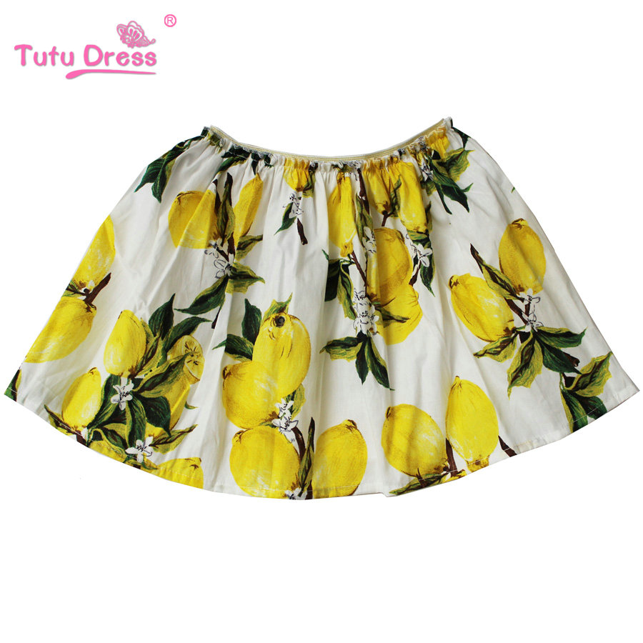 Princess Skirt 2018 Brand Lemon Print Cotton Kids Skirt Toddler Girls Summer Party Skirt ornate print textured skirt