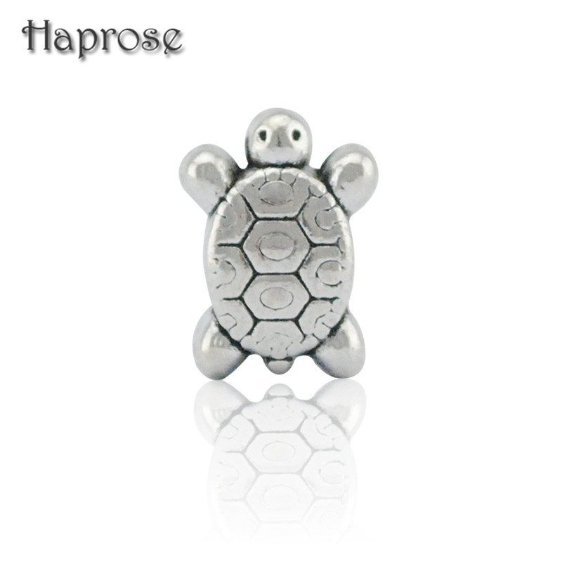 10PCS/Lot European Silver Zinc Alloy Sea turtles tortoise DIY Large Hole Beads Fit Charm Bracelets Necklace Pendants