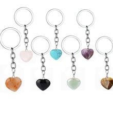 Розовый натуральный каменный брелок в виде сердца с кристаллами, кварцевый лечебный камень, чакра, брелок в виде сердца, ювелирное изделие, подарок
